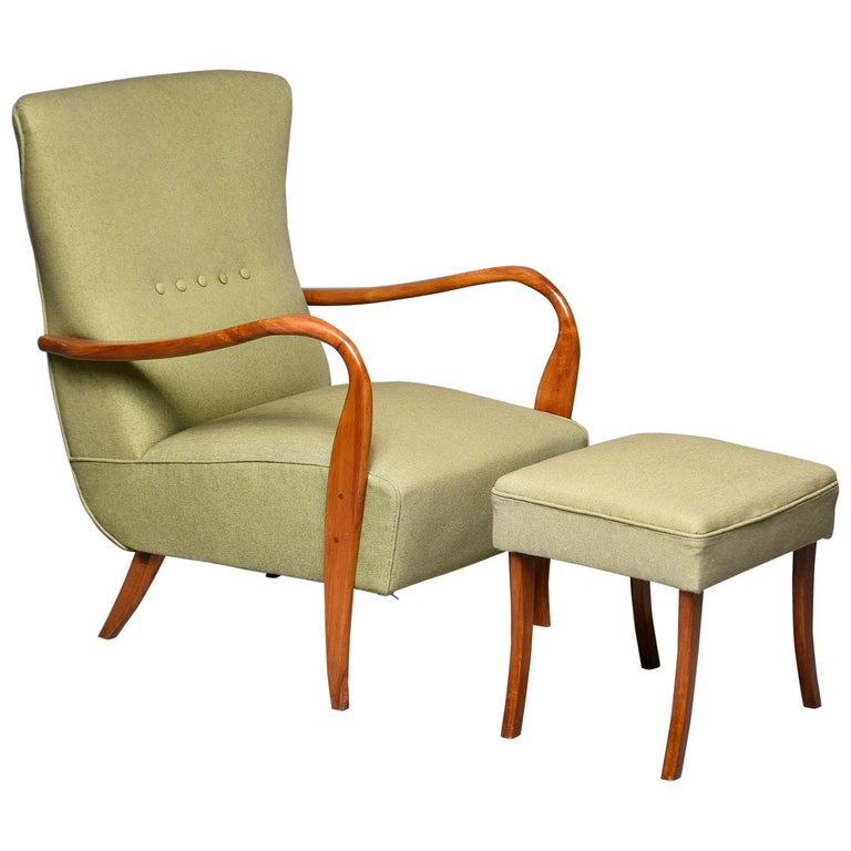 Midcentury Italian Armchair and Stool with New Upholstery For Sale