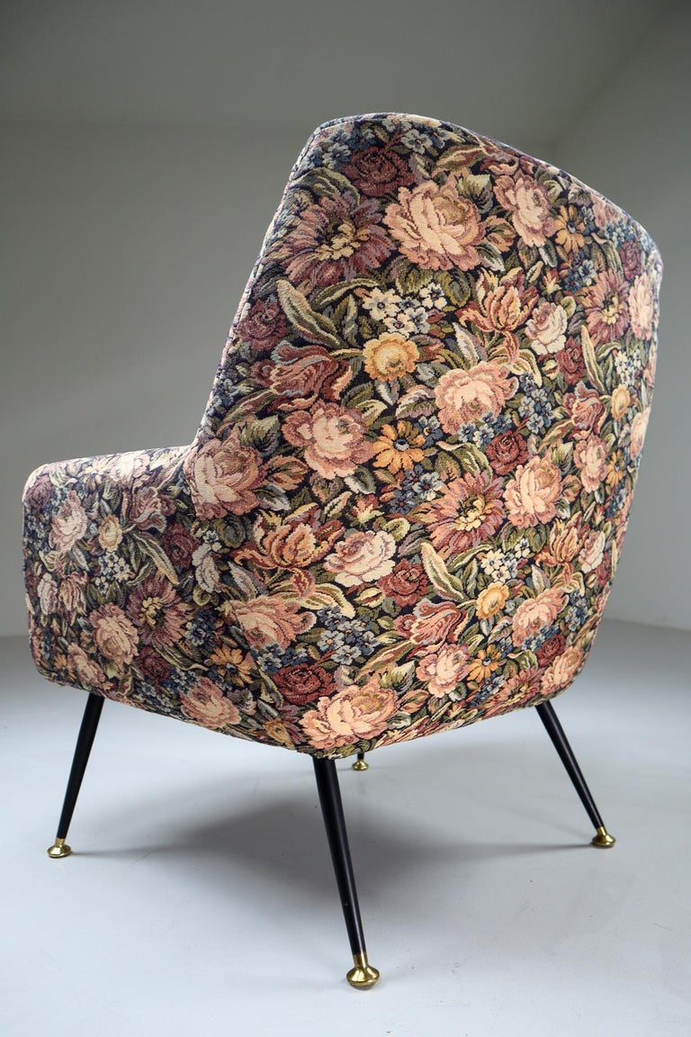 Italian armchair in original flower upholstery wool fabric, 1950s