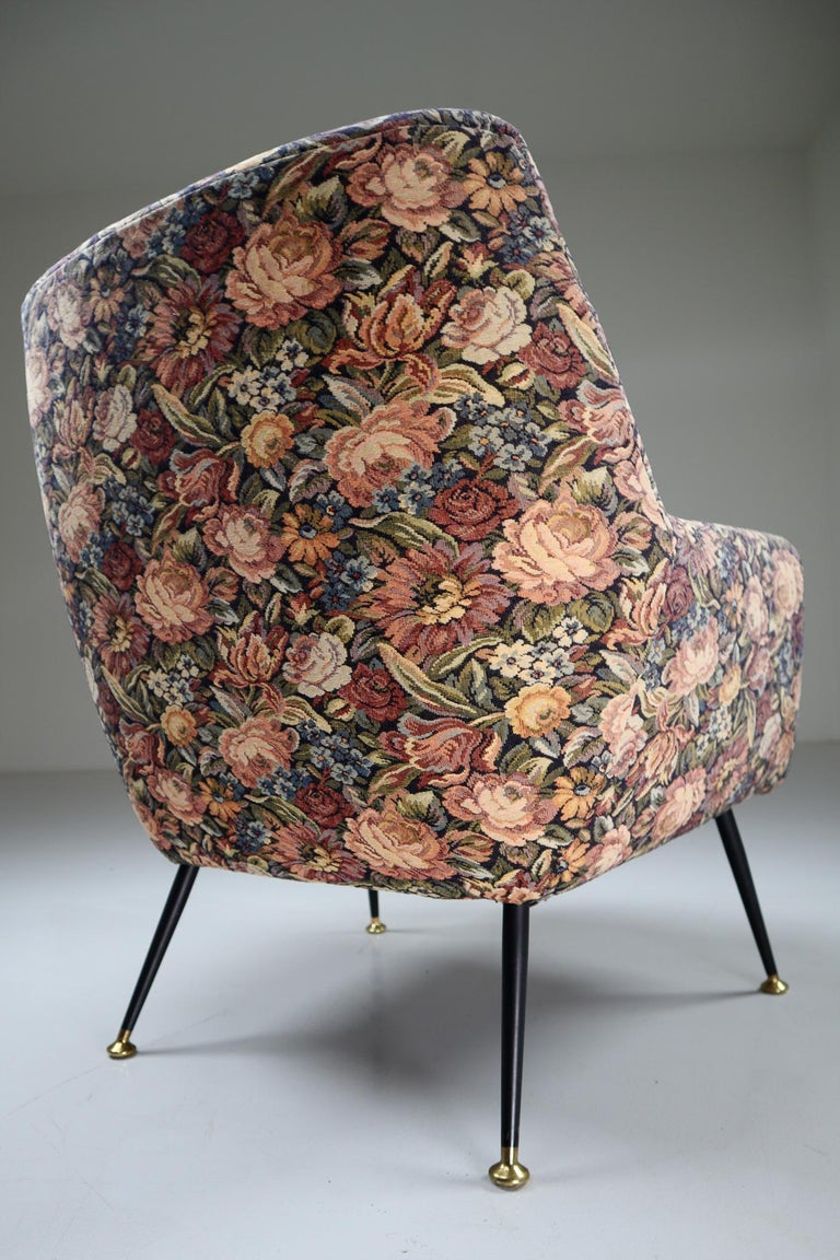 Mid-Century Modern Midcentury Italian Armchair in Original Wool Flower Fabric, 1950s For Sale