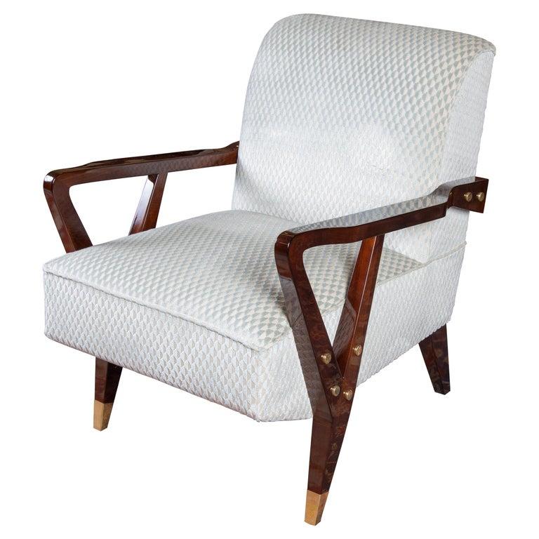 Mid-Century Italian Armchairs in Walnut For Sale