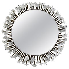 Mid-century Italian Back Lit Mirror with Glass Rosettes