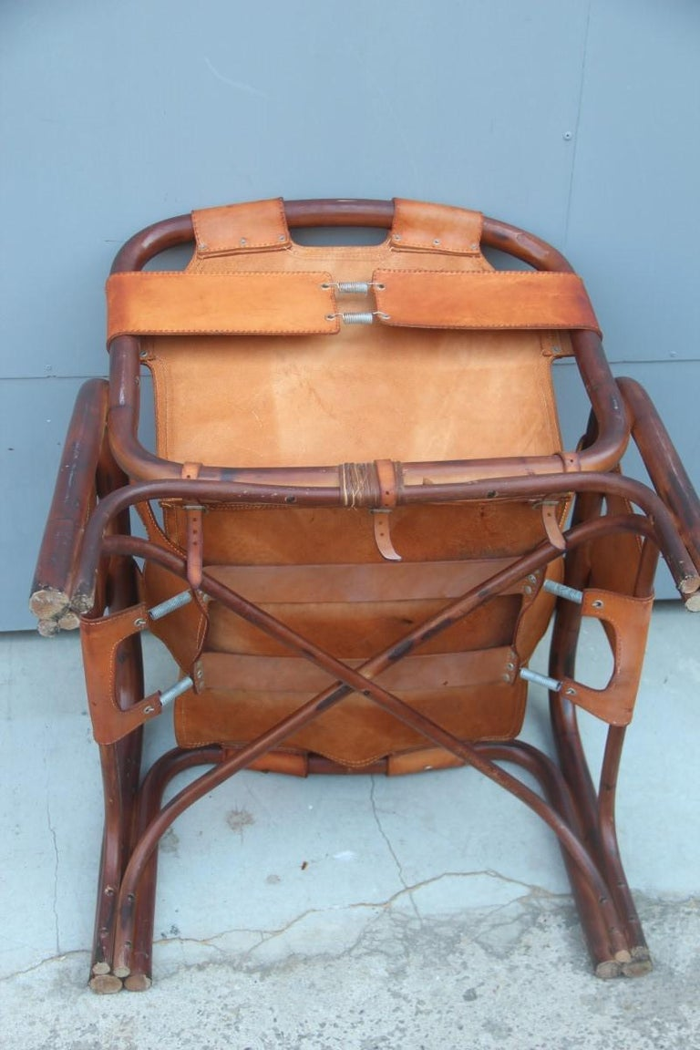 Midcentury Italian Bamboo Armchair in Calf Leather Attributed Tito Agnoli  For Sale 6