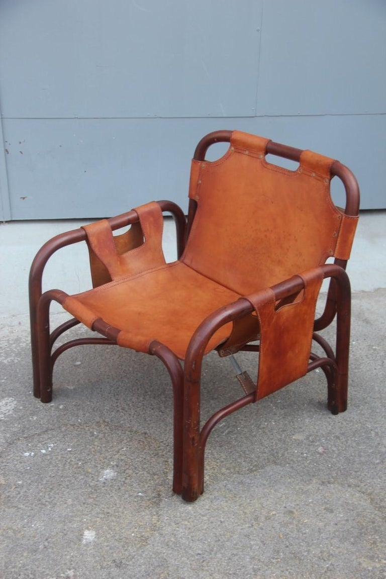 Mid-Century Modern Midcentury Italian Bamboo Armchair in Calf Leather Attributed Tito Agnoli  For Sale