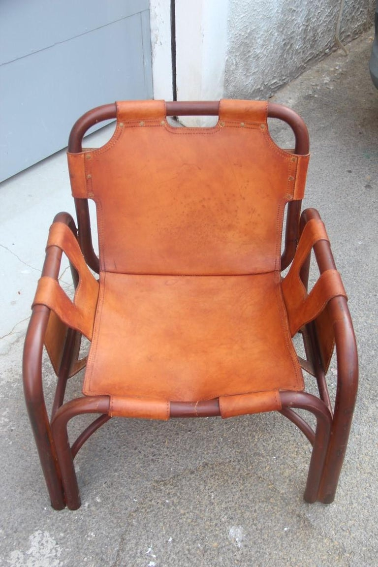 Midcentury Italian Bamboo Armchair in Calf Leather Attributed Tito Agnoli  In Good Condition For Sale In Palermo, Sicily