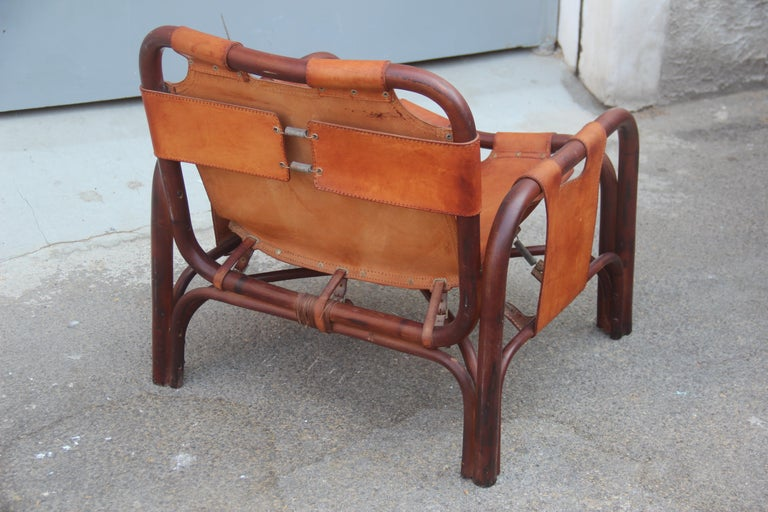 Midcentury Italian Bamboo Armchair in Calf Leather Attributed Bonacina Agnoli For Sale 4
