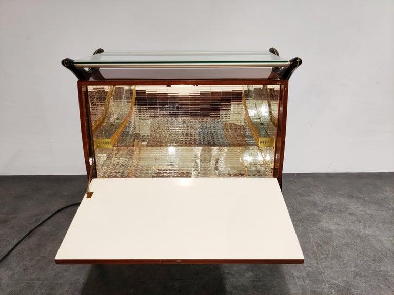 Brass Midcentury Italian Bar Cabinet, 1960s For Sale