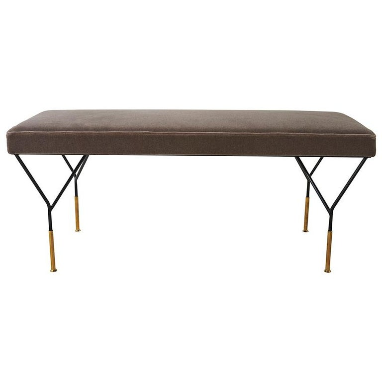 This Mid-Century Italian Bench is upholstered in Schumacher San Carlo Mohair Velvet fabric (64868).  Since Schumacher was founded in 1889, our family-owned company has been synonymous with style, taste, and innovation. A passion for luxury and an