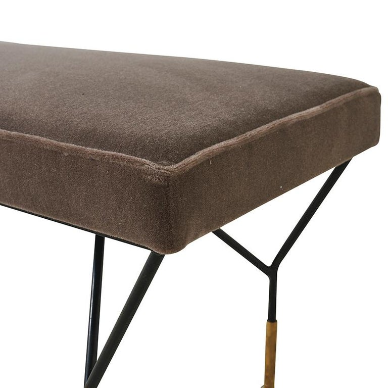 Mid-Century Italian Bench Upholstered in Schumacher Fabric In Good Condition In New York, NY