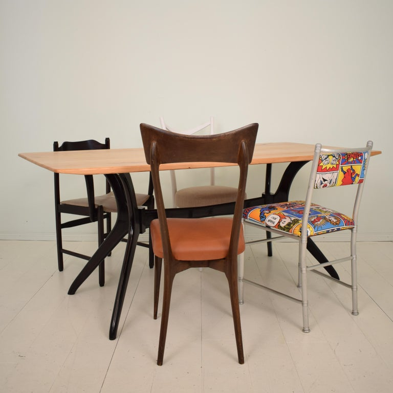 Midcentury Italian Black and Cherrywood Dining Table Style of Ico Parisi For Sale 7