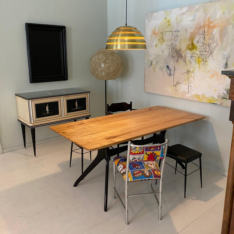 Midcentury Italian Black and Cherrywood Dining Table Style of Ico Parisi For Sale 10
