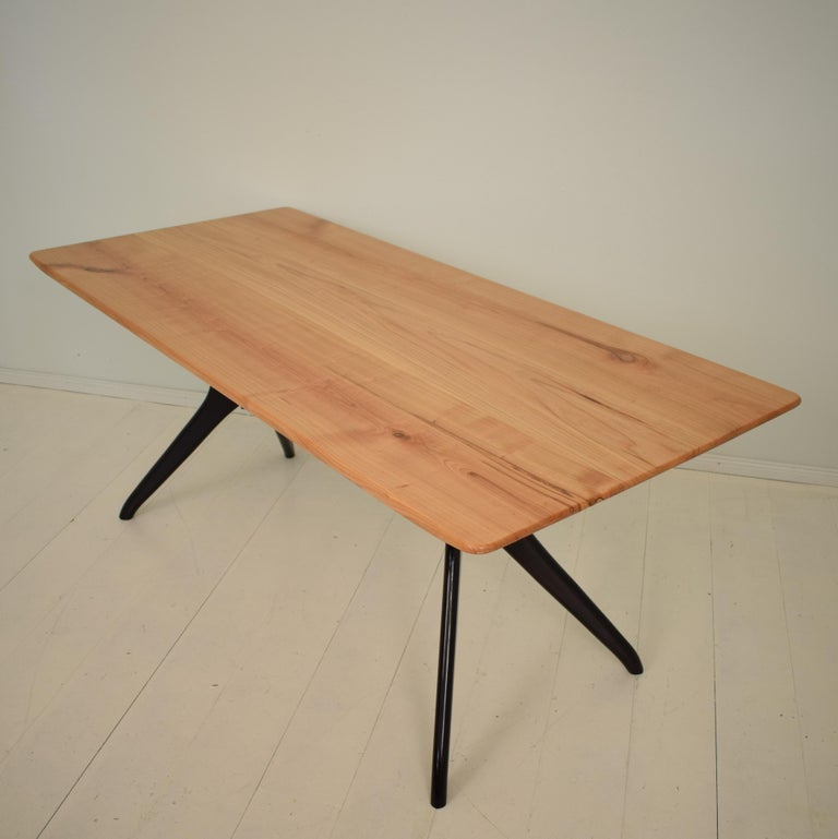 Midcentury Italian Black and Cherrywood Dining Table Style of Ico Parisi For Sale 1