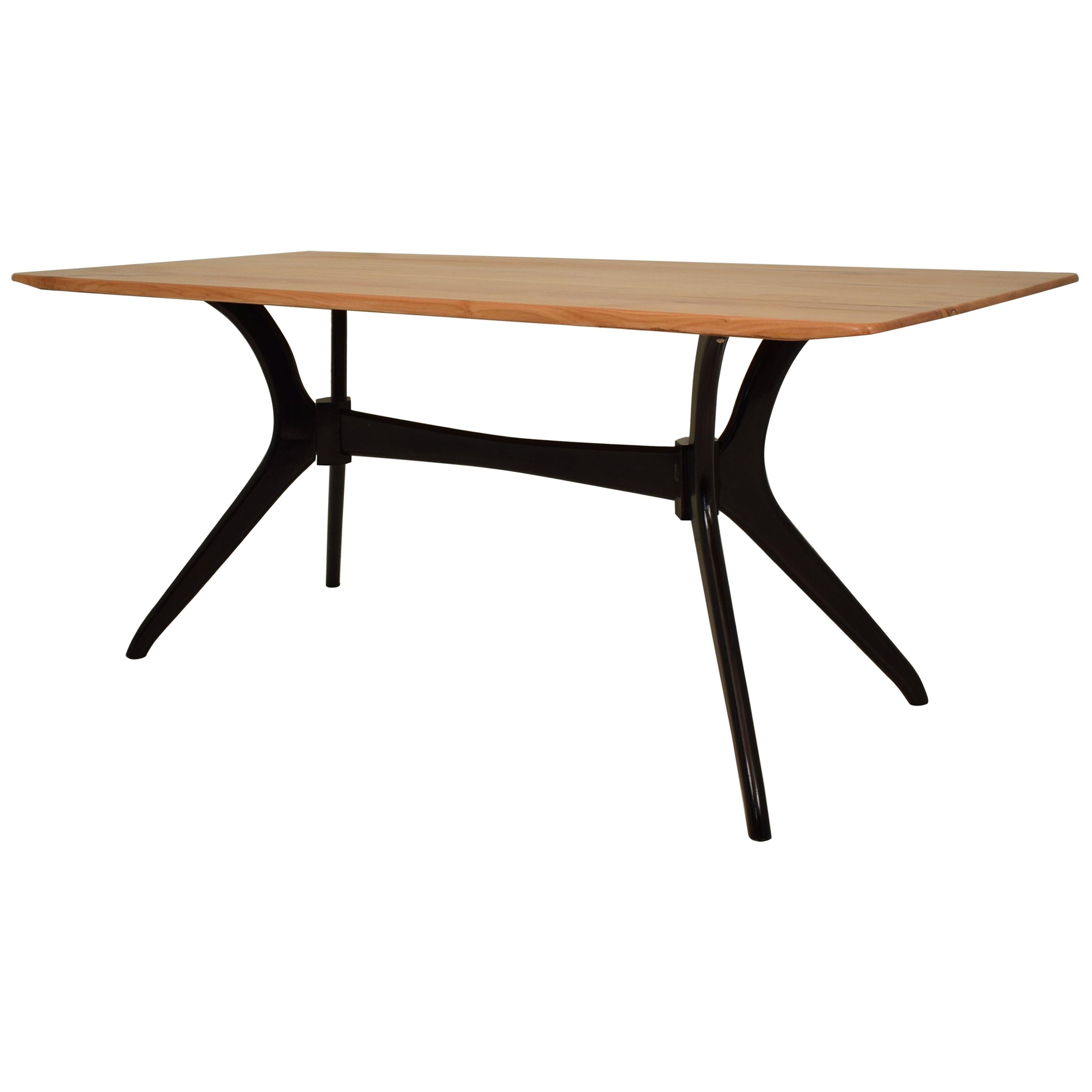 Midcentury Italian Black and Cherrywood Dining Table Style of Ico Parisi