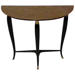 Midcentury Italian Black Lacquered and Brass Console Marble Top