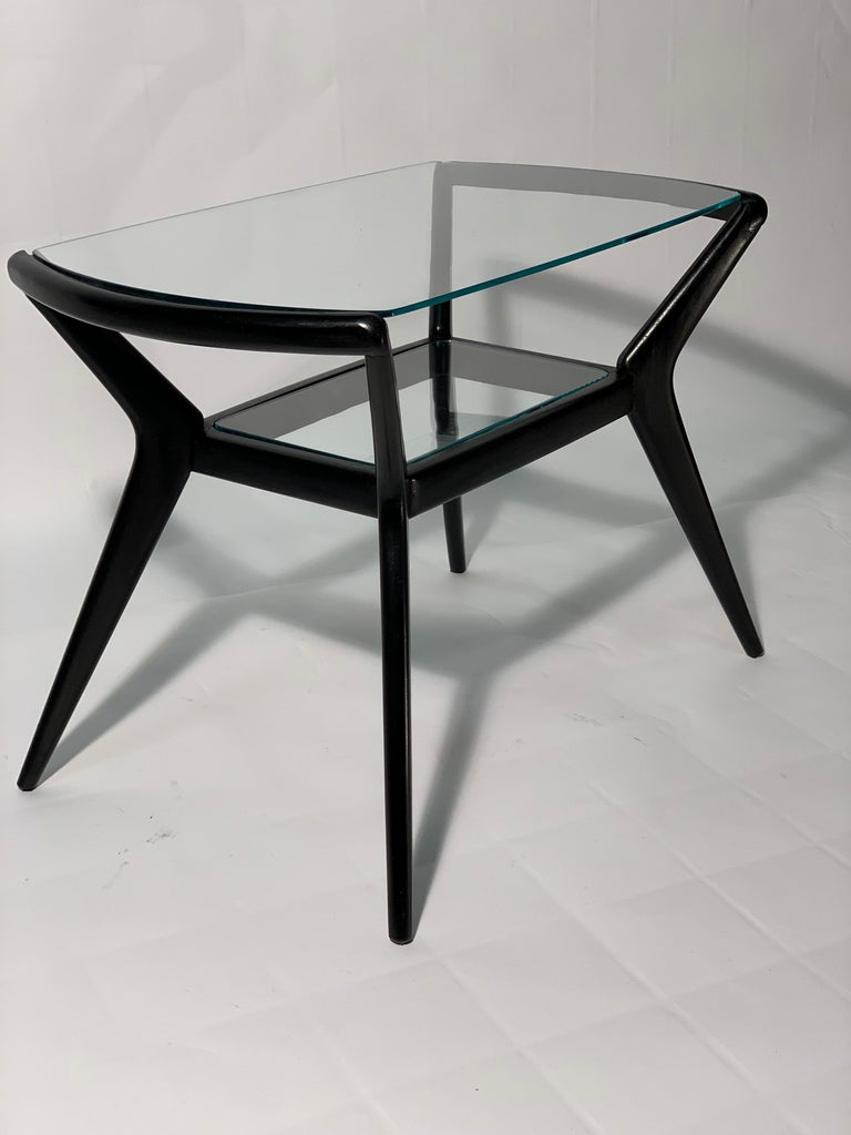 Midcentury Italian Black Lacquered Wood Side or Sofa Table with Beveled  Glasses