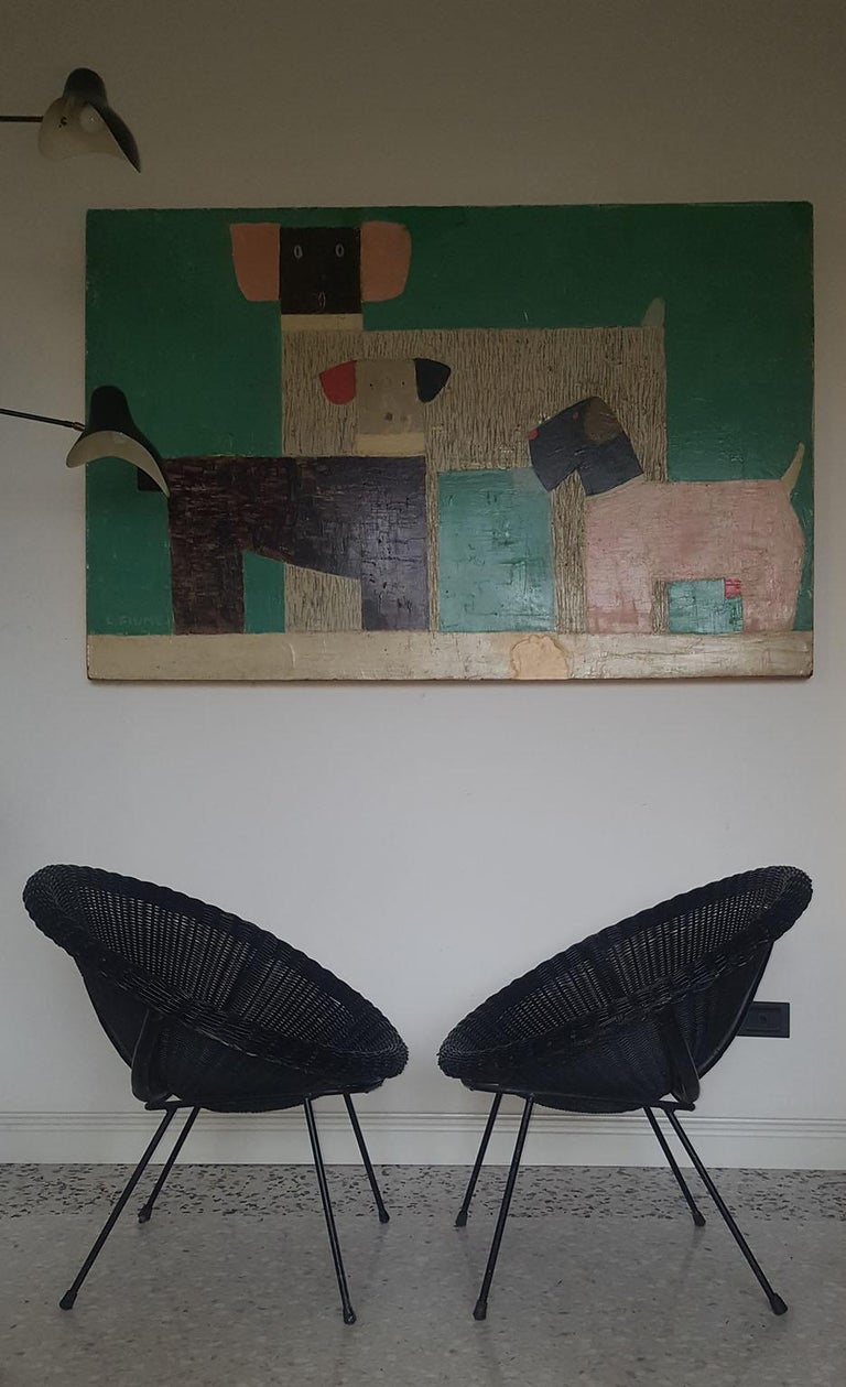 Mid-Century Modern Italian Black Wicker Round Armchairs, Made in Milano, 1950s For Sale 4