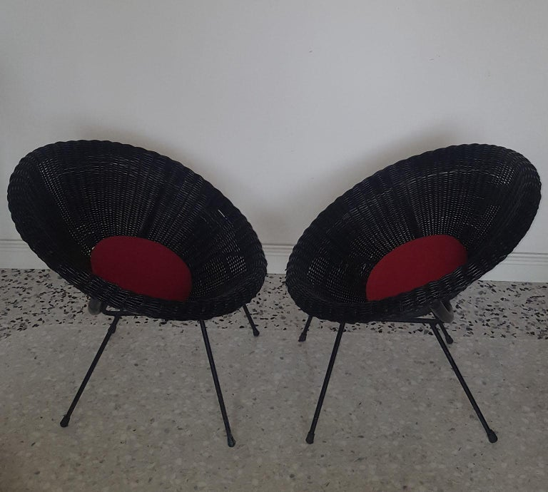 Mid-Century Modern Italian Black Wicker Round Armchairs, Made in Milano, 1950s For Sale 5