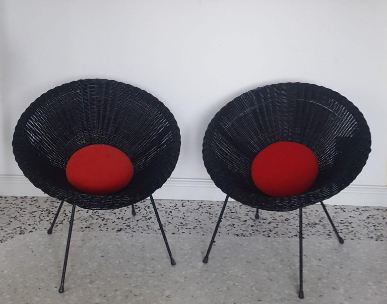 Mid-Century Modern Italian Black Wicker Round Armchairs, Made in Milano, 1950s For Sale 8
