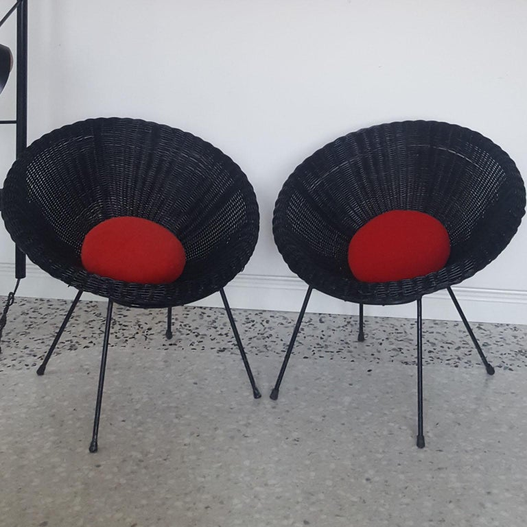 Mid-Century Modern Italian Black Wicker Round Armchairs, Made in Milano, 1950s For Sale 9