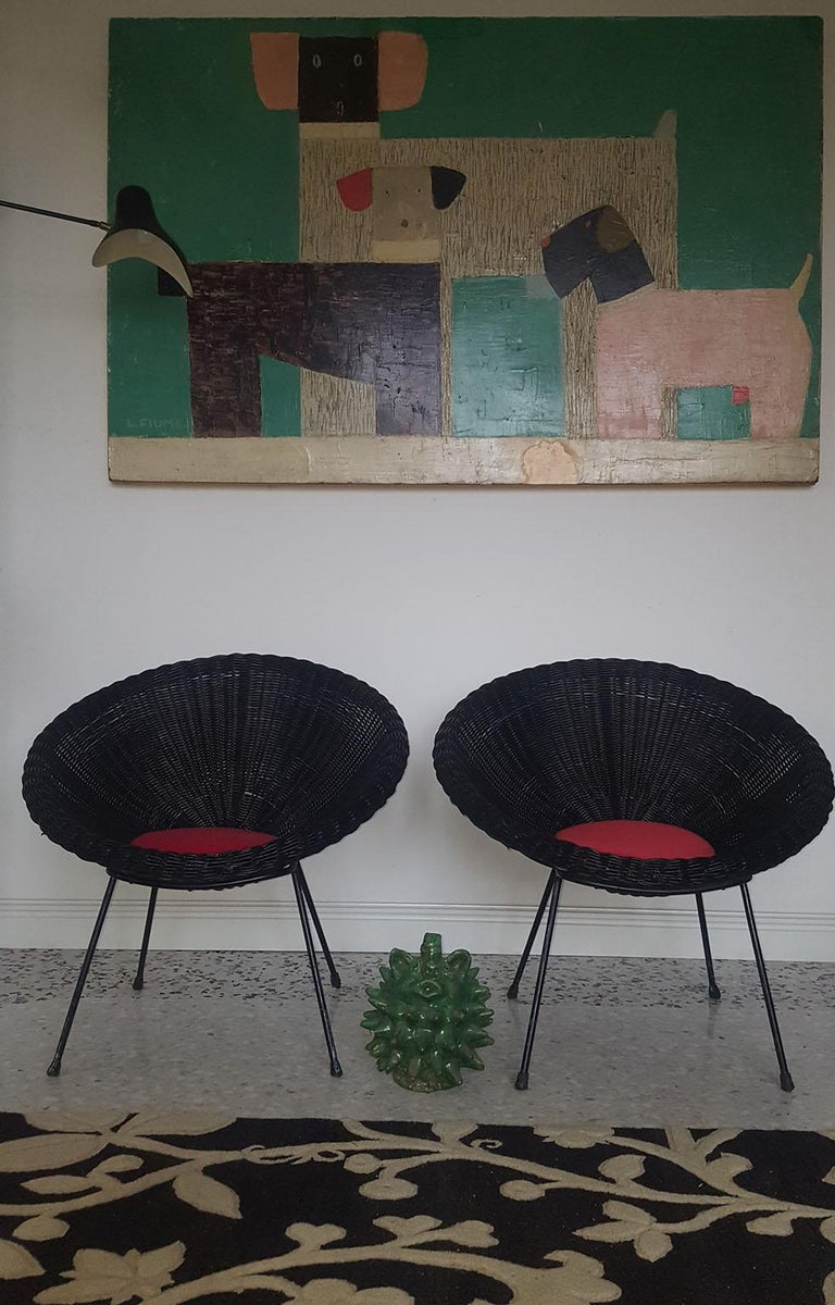 Lacquered Mid-Century Modern Italian Black Wicker Round Armchairs, Made in Milano, 1950s For Sale