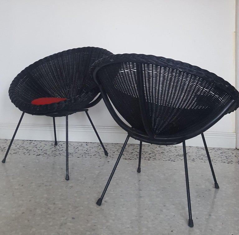 Mid-20th Century Mid-Century Modern Italian Black Wicker Round Armchairs, Made in Milano, 1950s For Sale