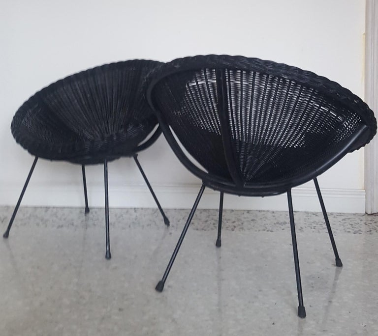 Iron Mid-Century Modern Italian Black Wicker Round Armchairs, Made in Milano, 1950s For Sale