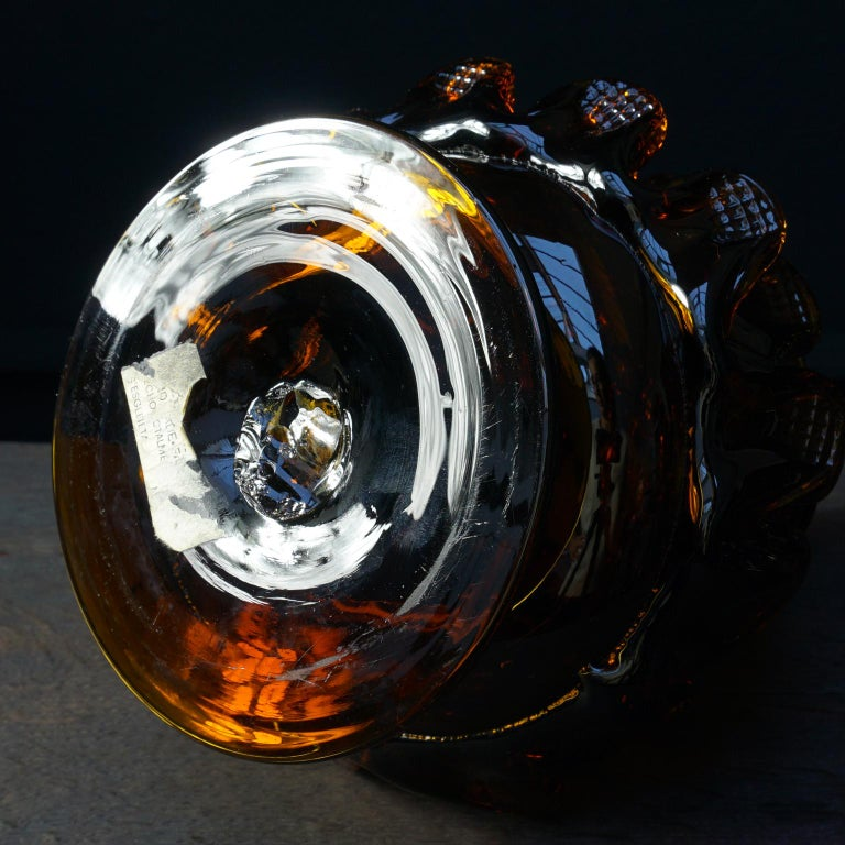 Midcentury Italian Blown Amber Glass Pinecone Carafe Decanter with Swan Stopper For Sale 6