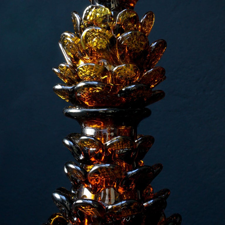 Midcentury Italian Blown Amber Glass Pinecone Carafe Decanter with Swan Stopper For Sale 7