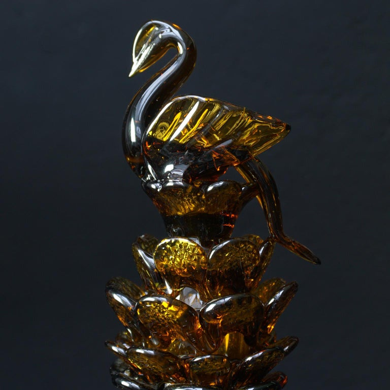 Mid-20th Century Midcentury Italian Blown Amber Glass Pinecone Carafe Decanter with Swan Stopper For Sale