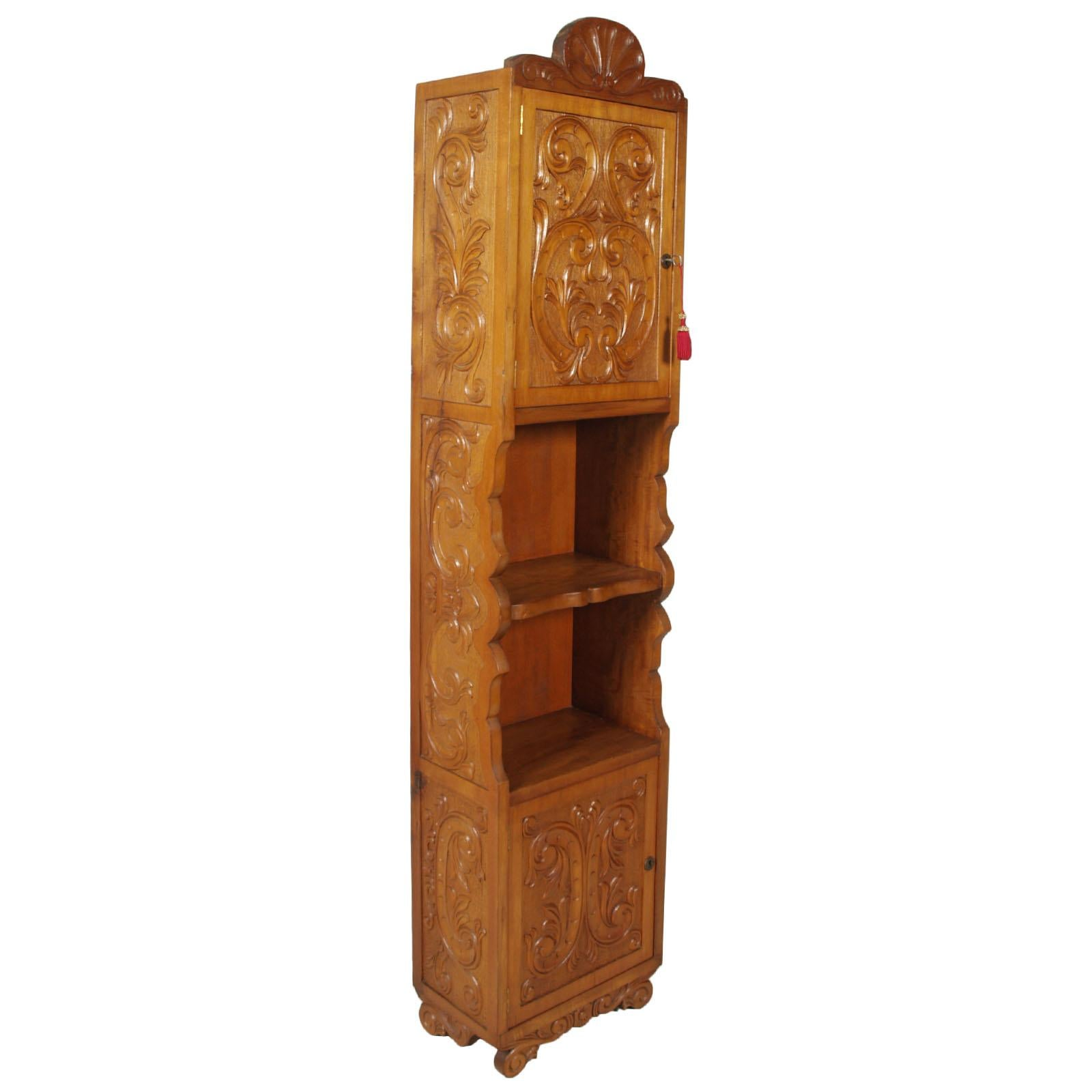 Midcentury Italian Bookcase, Column Cabinet, Hand Carved Walnut Wax-Polished