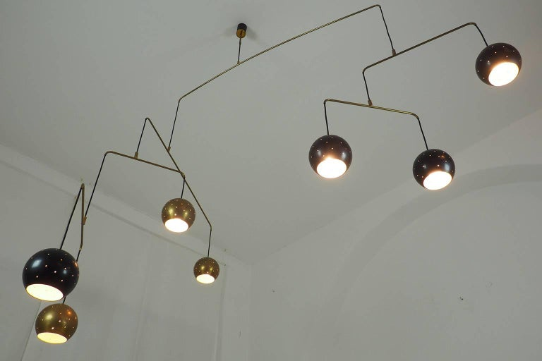 Wire Midcentury Italian Brass and Black Large Mobile Chandeli