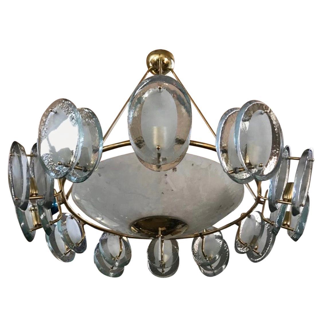 Midcentury Italian Brass and Glass Chandelier