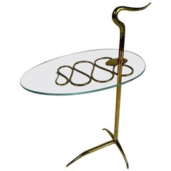 Midcentury Italian Brass and Glass Serving Table