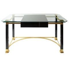 Midcentury Italian Brass and Glass Top Desk/Writing Table