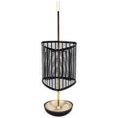 Midcentury Italian Brass and Perforated Metal Umbrella Stand, 1950s