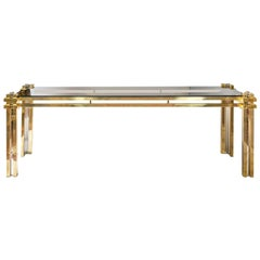 Mid-Century Italian Brass, Chrome and Glass Top Console Table by Romeo Rega