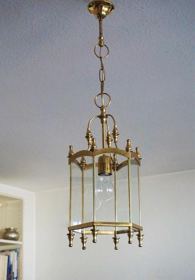Mid-Century Modern Midcentury Italian Brass Clear Glass Lantern, Pendant For Sale