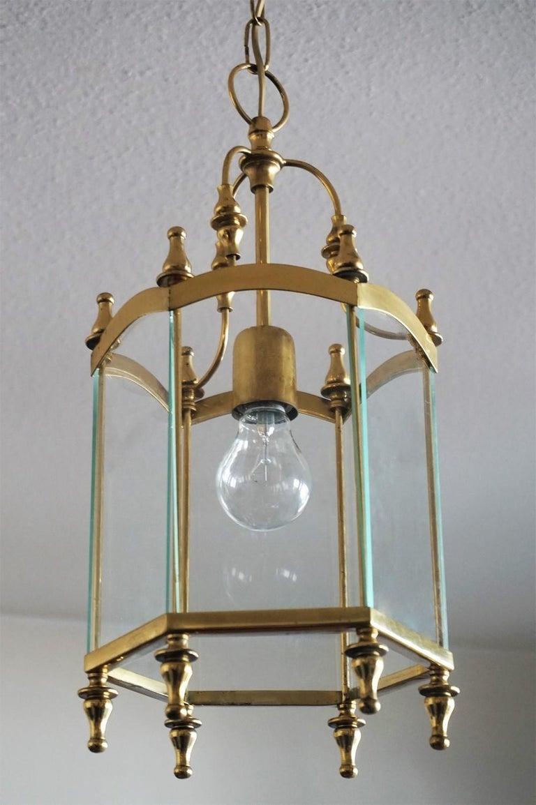 Midcentury Italian Brass Clear Glass Lantern, Pendant In Good Condition For Sale In Frankfurt am Main, DE