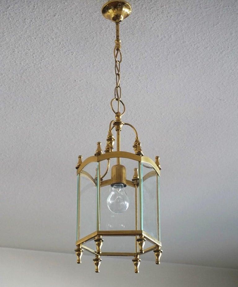 Midcentury Italian Brass Clear Glass Lantern, Pendant For Sale 1