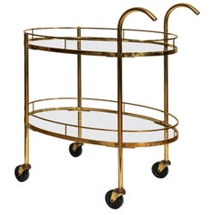 "Midcentury Italian Brass ""Deco"" Bar Cart, circa 1960s"