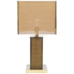 Midcentury Italian Brass Lacquer Cane Table Lamp, 1970s