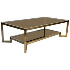 Mid Century Italian Brass Structure Double Top Sofa Table