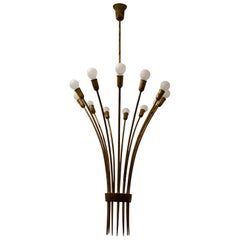Midcentury Italian Brass Uplighter Chandelier in Classical Style