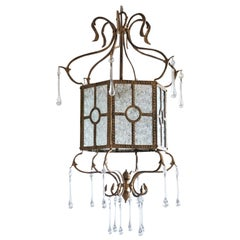 Midcentury Italian Bronze Molded Glass Lantern with Murano Glass Drops