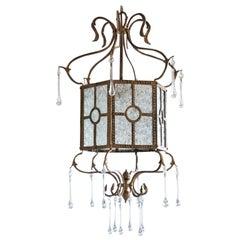 Midcentury Italian Bronze Molded Glass Lantern with Murano Glass Drops