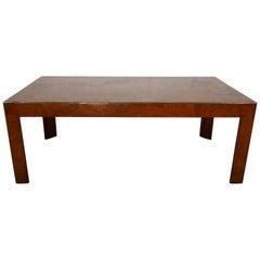 Mid Century Italian Burled Mahogany Parson Style Modern Coffee Table 1950s
