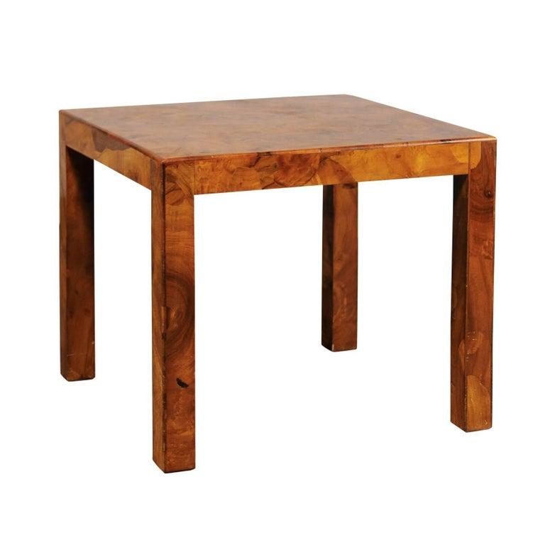 Midcentury Italian Burled Olive Wood Side Table