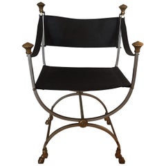 Midcentury Italian Campaign Style Armchair