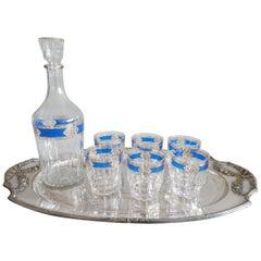 Mid Century Italian Carafe Glass Liquor Bar Set Tray