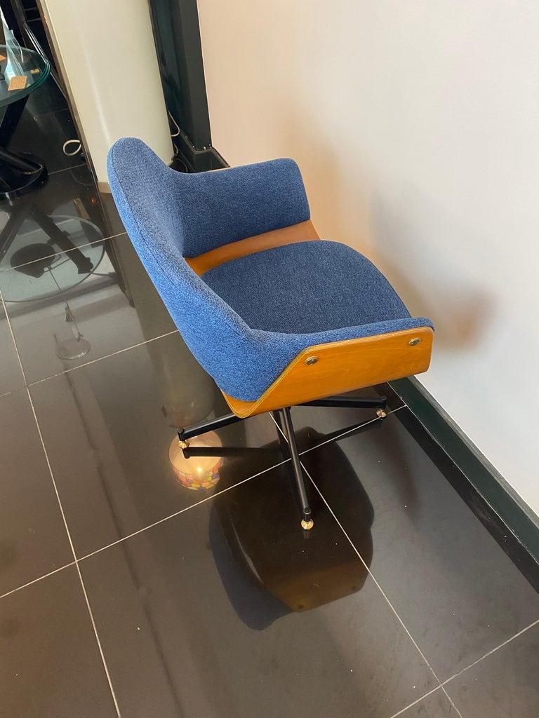 Blackened Mid-Century Italian Carlo Ratti Swivel Desk Chair For Sale