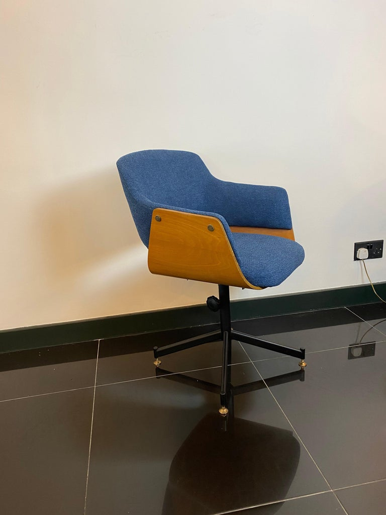 Mid-Century Italian Carlo Ratti Swivel Desk Chair In Good Condition For Sale In London, GB